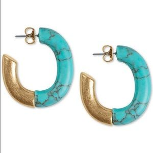 NWT Lucky Brand Turquoise Stone Hoop Earrings